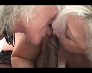 2 concupiscent grannies share a large dark dong Btches sucking dick