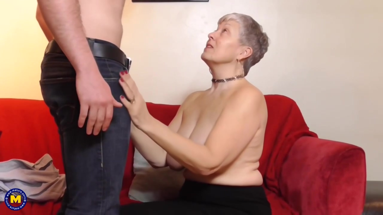 Elderly Woman With Short Hair And Big Boobs Is Sucking A Younger Guys Dick And Getting Fucked