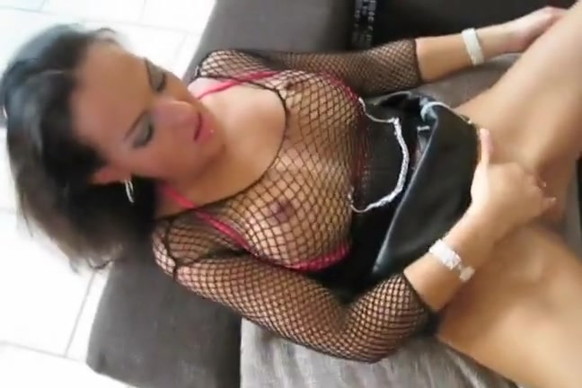 Precious looking hottie in fishnets playboy tits and pussy
