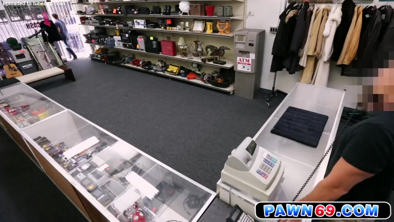 Straight dude moans as he gets fucked in pawn shop Casting cumshot compilation