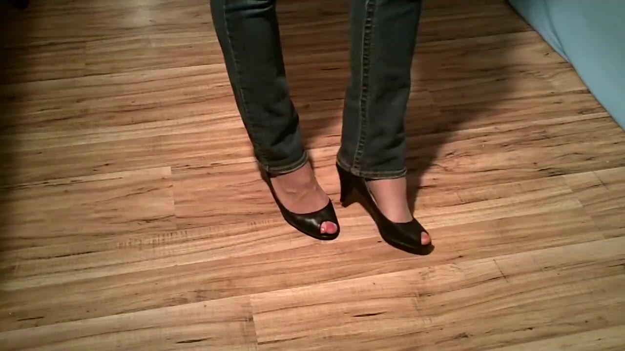 Office play black peep toe heels Likoria Girlx