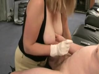 Gloved cook jerking on love bubbles from a pro jerking off wife