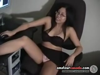Moist diminutive oriental is on office chair in mini-petticoat and plays Shemale anal sex videos