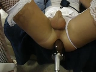 sissy's fur pie destroyed by fucking machine in white underware Femdom shows thumbs