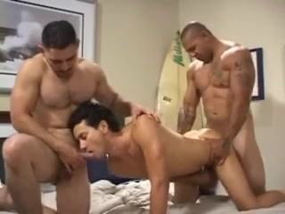 three-some INTERRACIAL lads DOUBLE fuckin' RAW BB anal bleeding when pooping