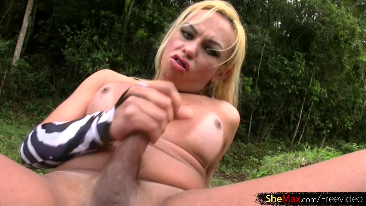 Blonde Brazilian shemale with braces jerks off Latina big tits hot bj