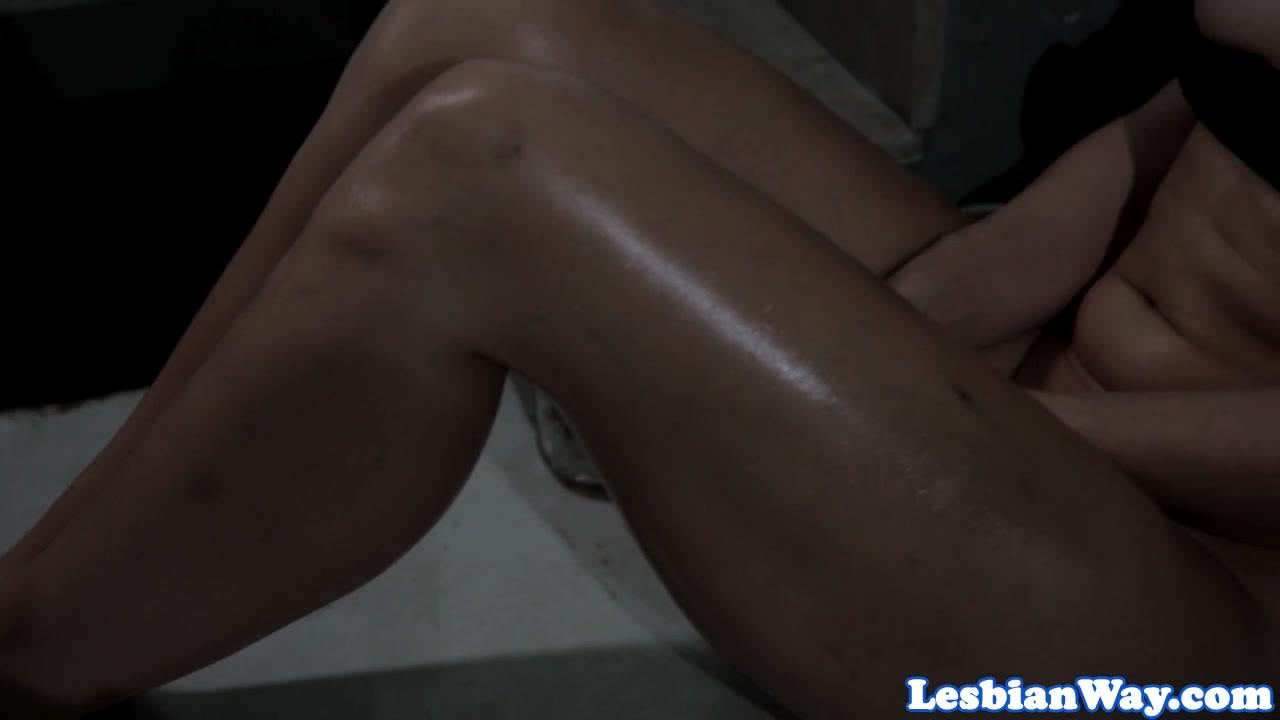 Over nude girl bending