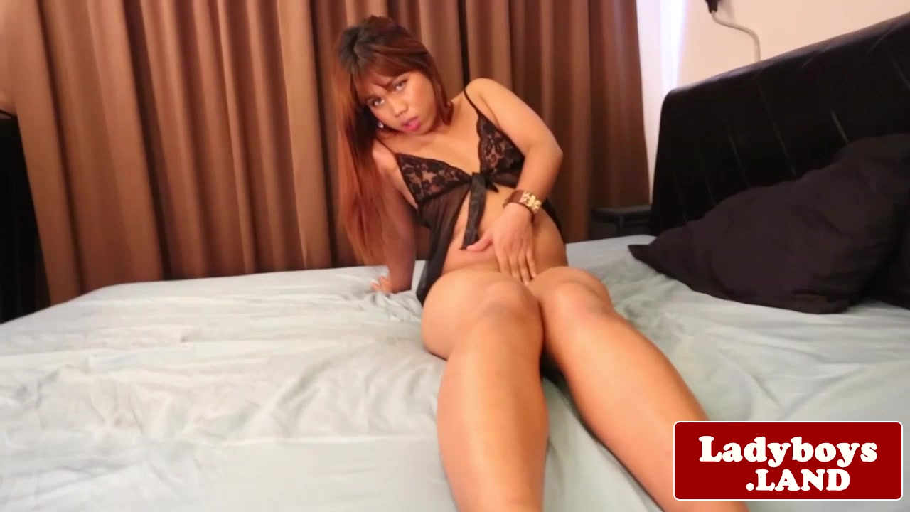 Chubby sensual ladyboy wanks her uncut dick Sexy night robes