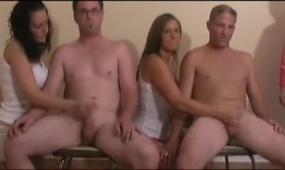 MILF teaches 2 babes how to get a cumshot with handjobs