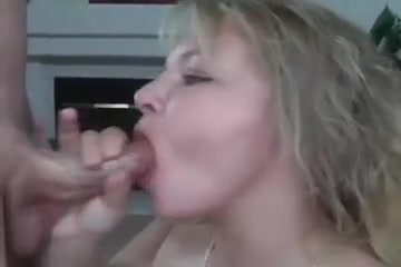 Hawt golden-haired drains cum str8 into her face hole and swallows