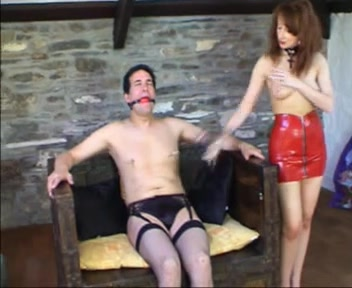 Sissy thong-on drilled by Female-Dominator Punk babe fisted by tattooed lesbian